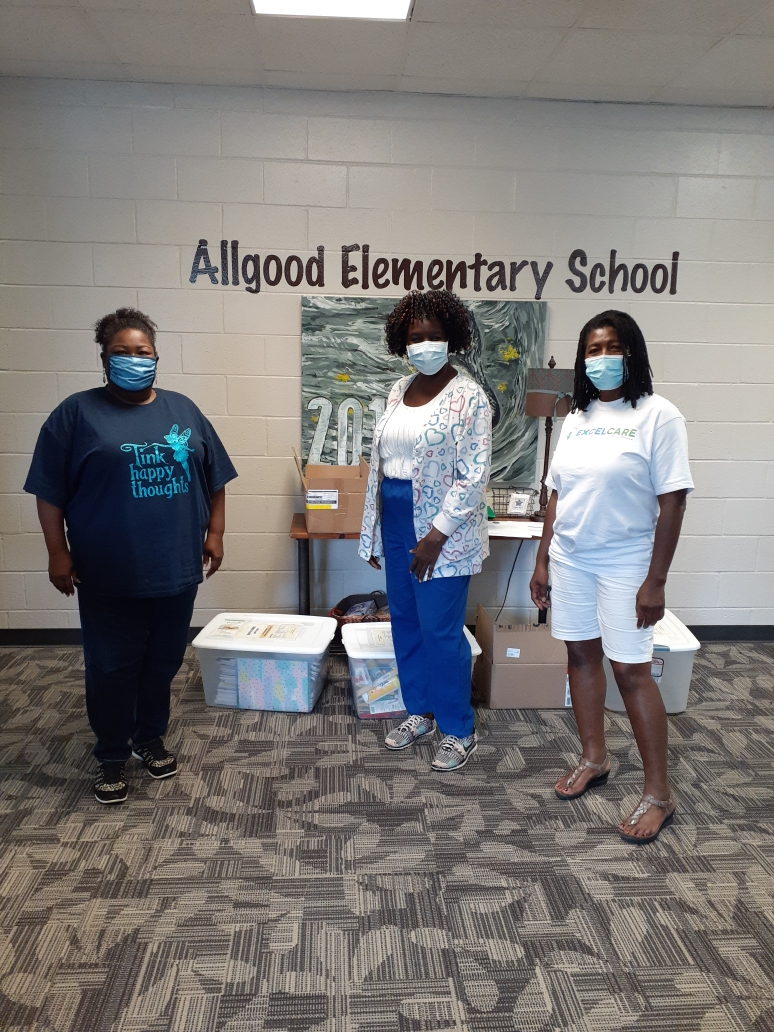 Delivering supplies to Allgood Elementary School.